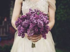 Seriously dying over this deep amethyst lilac wedding bouquet