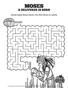Exodus 2 Baby Moses Bible Mazes: Lead baby Moses through the dangers of the Nile river with this Exodus 2 Sunday School activity. A little challenging and a lot of fun this Sunday School activity is going to be a classroom hit.