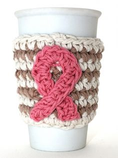 Breast Cancer Awareness Cup Cozy | Yarn | Free Knitting Patterns | Crochet Patterns | Yarnspirations