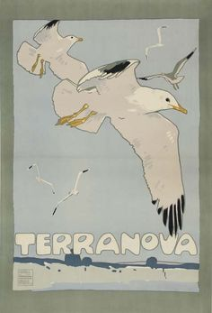 """""""Terranova"""", Travel Poster, - Illustration and Graphic by Ludwig Hohlwein - Germany). Vintage Travel Posters, Vintage Ads, Vintage Prints, Terra Nova, Ludwig, Advertising Poster, Typography Poster, Bird Art, Illustrations Posters"""