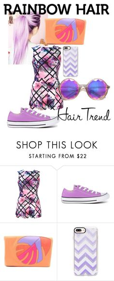 """""""Untitled #31"""" by nicole-elizabeth-hansen ❤ liked on Polyvore featuring beauty, Converse, Danielle Nicole, Casetify, ZeroUV, hairtrend and rainbowhair"""