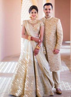 White Bridal Lehenga Photo white and gold lehenga Engagement Dress For Bride, Couple Wedding Dress, Indian Wedding Couple, Indian Bride And Groom, Wedding Dresses, Sabyasachi Wedding Lehenga, Lehenga Sari, Gold Lehenga, Bridal Lehenga Choli
