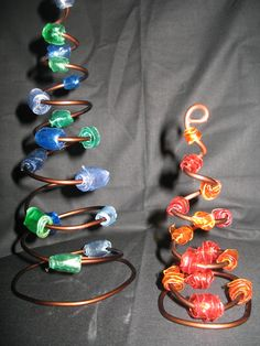 Metal wire & recycled PET beads for these little Xmas trees