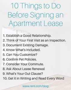 It's so great to finally find an apartment that looks perfect, but don't rush into an apartment lease! It's important to do your research and be absolutely positive about the space before signing an apartment lease. Check out the Rent.com blog to find out what you need to do first.