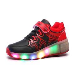 Blinkende Schuhe Mit Rollen Schwarze Damen