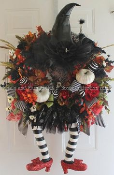 "Halloween Wreath -Wicked Witch w/ Ruby Red Slippers -  ""Halloween Hat n' Boots Collection©"""