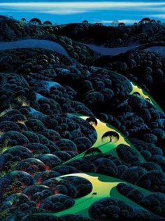 Three Pastures On A Hillside - Eyvind Earle