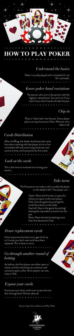 How to Play Poker – Infographic by Hippodrome Casino London explains about the poker playing and winning tips. A must go through for casino enthusiasts.
