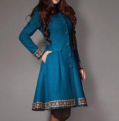 Blauen Woll Mantel wolle Kaschmir Kleid wolle von fashionwomanstore, $119.00