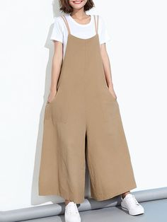 Loose Casual Women Pure Color Wide-Leg Overalls With Pocket Banggood Mobile Mode Kimono, Jumpsuits For Women, Fashion Jumpsuits, Plus Size Jumpsuit, Looks Plus Size, Fashion Sewing, Muslim Fashion, Ideias Fashion, Overalls
