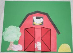 Barn with opening doors and animals craft