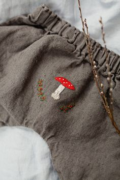 Ready To Ship, Linen Baby Trousers, Brown Pants, Washed Linen, Baby Clothing, Hand Made Embroidery