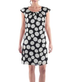 Womens satin shift dress with an all over polka dot print, round neckline with gathered yoke, fully lined.