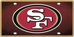 San Francisco 49ers Team Ball Style Mirrored License License Plate