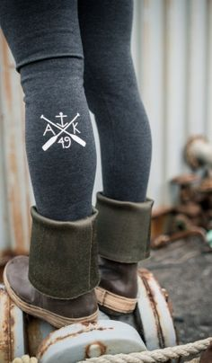 A sister to our ever popular Anchor Leggings, these stylish tights are thick and warm and perfect for layering under rain gear and and printed to match the heig Alaska Tattoo, Alaska Fashion, Rain Gear, Vogue, Winter Wear, Style Me, Autumn Fashion, Cute Outfits, Fancy