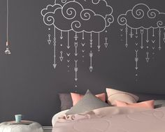 Dramatically convert the look of your living space with these unique swirly clouds raining arrows wall decals, giving your walls the look of a custom paint job without any of the hassle! This decal is created from my unique, original design and isnt available from any other seller :) ***ITEM DETAILS*** • This decal is available in 2 sizes: - 32 X 25 - 42 X 33 • See 4th preview image for available colors • Every color has a beautiful matte finish that reduces excess glare --Colors show...