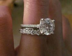 Thin engagement band with thicker wedding band.  Yup.