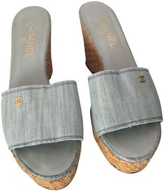 Get the must-have wedges of this season! These Chanel Blue Light Canvas Cc Leather Lined Raffia Platform Mules Sandals Wedges Size EU 40 (Approx. US Regular (M, B) are a top 10 member favorite on Tradesy. Save on yours before they're sold out! Wedge Mules, Mule Sandals, Wedge Sandals, Chanel Brand, Chanel Logo, Denim Sandals, Platform Mules, Lighted Canvas, Soft Leather