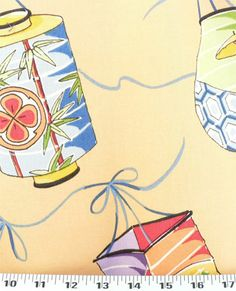 Teahouse Lanterns Yellow | Online Discount Drapery Fabrics and Upholstery Fabric Superstore!