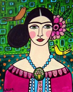 50% off - MEXICAN FOLK ART - Frida Kahlo Poster Art Print of Mexican Painting