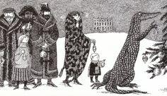 I Love this illustration by Edward Gorey Kitsch, Up Book, Gothic Art, Children's Book Illustration, Illustration Styles, Surreal Art, Macabre, Dark Art, Craft