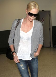 Charlize Theron travel look