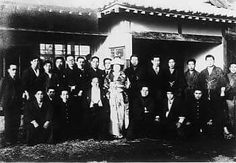 "Iwama in 1948 - Kisshomaru Ueshiba marries Sakuko Habutsu (Aikido Founder Morihei Ueshiba seated between the couple). Kisshomaru Doshu visited Hawaii for the first time in 1963, more about that in ""Kisshomaru Ueshiba, Mangos and Johnny Walker Black"" on the Aikido Sangenkai blog: http://www.aikidosangenkai.org/blog/kisshomaru-ueshiba-mango-johnny-walker-black/"