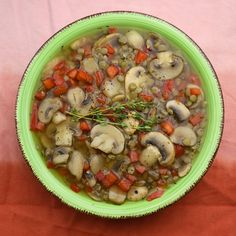 5-ingredient Lentil Mushroom Soup -