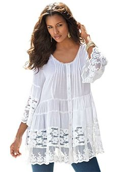 Womens Plus Size Illusion Lace Tunic White22 W *** Click image to review more details.Note:It is affiliate link to Amazon.