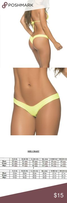 55e95e4f53 NWT Yellow Low Rise Mini Scrunch Bikini Bottom Featuring a low rise retro  cut front that