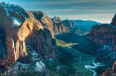 Zion valley and Virgin River seen from Angels Landing in Zion National Park, Utah.
