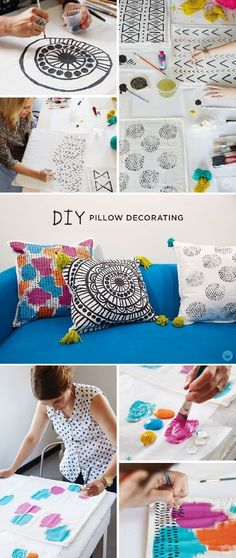 One of the easiest ways to add to your home decor is with throw pillows. Make your own with this DIY pillow decorating workshop from Think.Make.Share., a blog from the creative studios at Hallmark! Using fabric paint and pens, create your own unique design on each pillow cover.