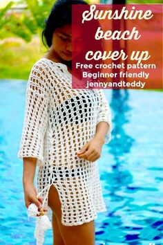 crochet beach dress simply crochet beach cover up tutorial Crochet Beach Dress, Crochet Summer Dresses, Crochet Summer Tops, Crochet Tops, Crochet Bikini, Beginner Crochet Tutorial, Crochet Patterns For Beginners, Simply Crochet, Easy Crochet