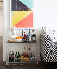 A lovely lucite bar cart in our NYC office!