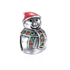 Christmas Snowman Tumbler Charm 925 Sterling Silver