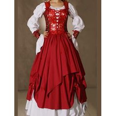 Includes Red Metallic Bodice Style Halter Gown, White Sleeves, Underskirts  And Lace Up Wrist Guantlets.