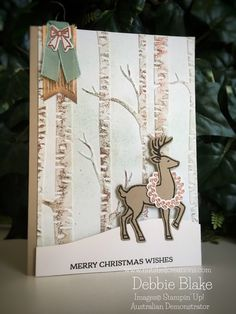 Santa's Sleigh Reindeer in a Woodland. | Nutshell Creations Stampin Up 2016 holiday catalogue