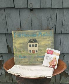 Antique folk art farmhouse sign  hand painted by BradyBearsStudio