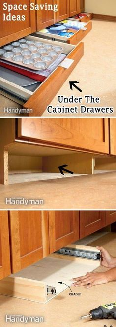 Add More Storage Space in the Kitchen with Under-Cabinet Drawers. Finding storage areas in any room always makes a space look bigger. Look under your kitchen cabinet drawers and add more storage for all of your cooking needs. via familyhandyman. Cocina Diy, Kitchen Redo, Kitchen Small, Kitchen Pantry, Kitchen Drawers, Space Saving Kitchen, Space Saving Ideas For Home, Ikea Kitchen, Messy Kitchen