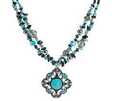 Susan Graver Simulated Gemstone Necklace with Pendant - QVC.com