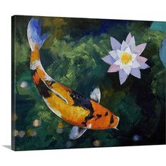 Canvas On Demand Showa Koi and Water Lily by Michael Creese Painting Print on Canvas Size: