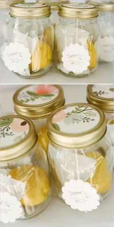 Perfect favor! Tea, lemon, and sugar in Mason jar. Everything looks cuter in a jar!