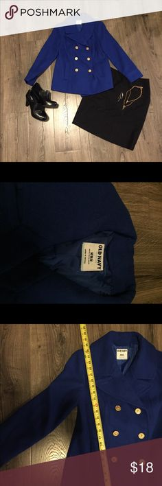 Blue old navy pea coat size M Royal blue old navy pea coat. Very gently used, worn maybe a handful of times. It's in excellent condition. This coat is nice and warm, and it has cute gold buttons! I included pictures of measurements, but if you need any more information please contact me:) thank you for looking! Old Navy Jackets & Coats Pea Coats