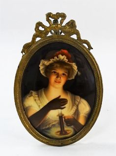 ANTIQUE FRENCH PORCELAIN PORTRAIT PLAQUE LADY W/ CANDLE : Lot 0016