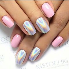Holographic Nail Designs Picture holographic nails pink nails and rainbow Holographic Nail Designs. Here is Holographic Nail Designs Picture for you. Holographic Nail Designs nail designs take your daily mani to the future w. Chrome Nails Designs, Nail Art Designs, Acrylic Nail Designs, Tattoo Designs, Hair And Nails, My Nails, Crome Nails, Super Nails, Winter Nails