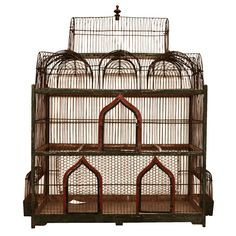 Grand French 19th c. architectural birdcage green and red wood