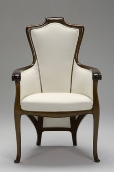 "Édouard Colonna (1862-1948) - Arm Chair. Carved Brazilian Rosewood with Upholstered Seat, Back & Surround. Designed for The Exposition Universelle, and Made for Siegfried Bing's Galerie L'Art Nouveau. Paris, France. Circa 1900. 39"" x 24-1/2"" x 18-1/2"" 
