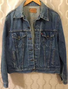 Levis Mens Vintage Trucker Denim Blue Jean Jacket 70506-0216 Distressed Size 46 #Levis #JeanJacket