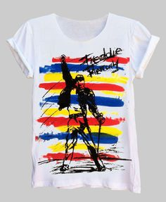 Freddie Mercury Sketch Fine Jersey Unisex White T-Shirt