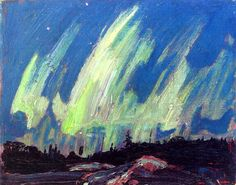 Northern Lights, 1915 by Tom Thomson on Curiator, the world's biggest collaborative art collection. Emily Carr, Canadian Painters, Canadian Artists, Nocturne, Abstract Landscape, Landscape Paintings, Abstract Paintings, Oil Paintings, Group Of Seven Paintings